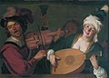 A merry group behind a balustrade with a violin and a lute player, by Gerrit van Honthorst.jpg