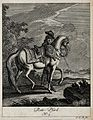 A saddle-horse with the horseman holding the reins. Etching Wellcome V0021145ER.jpg