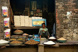 Retailing in India - A food staple retail shop in Pushkar, India