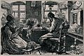 A woman sits working at a spinning wheel as a man works at t Wellcome V0040441.jpg