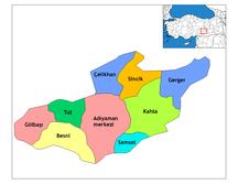 Provincia di Adıyaman-Distretti-Adıyaman districts