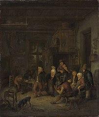 Peasants Drinking and Dancing at an Inn