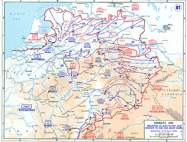 The reduction of the Ruhr Pocket and advance to Elbe and Mulde rivers between 5 and 18 April 1945 Advance through Germany - 5-18 April 1945.jpg