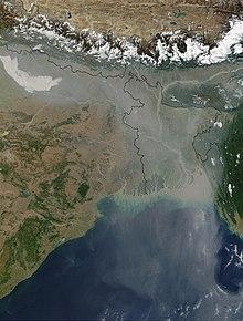 Foto satellitare che mostra l'inquinamento da aerosol visibile dallo spazio