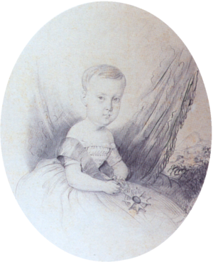 A half-length portrait sketch showing the Prince Imperial as a child in a gown with sash and holding the medal of the Order of the Southern Cross