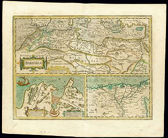 Capture of Mahdiye (1550) - Map of the Barbary States by Gerard Mercator. Originally published by Jodocus Hondius.