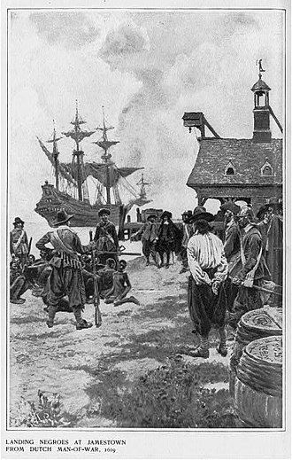 "African-American history - ""Landing Negroes at Jamestown from Dutch man-of-war, 1619"", 1901."