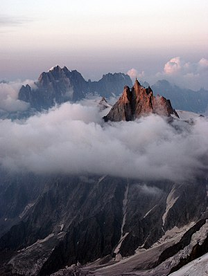 Aiguille du Midi (France, Chamonix) in summer after sundown, seen from the Mont Blanc refuge
