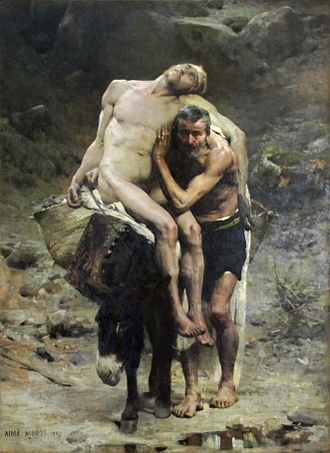 Parable of the Good Samaritan - The Good Samaritan by Aimé Morot (1880) shows the Good Samaritan taking the injured man to the inn.