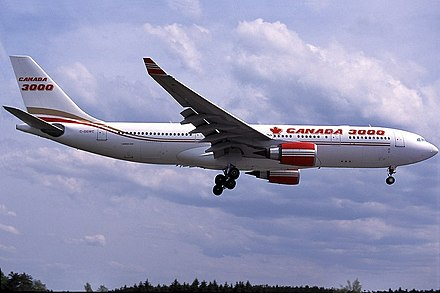 Canada 3000 was the A330-200's first operator in April 1998 Airbus A330-202, Canada 3000 AN0170340.jpg