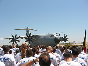 EADS CASA - The first A400M, surrounded by EADS employees, during the aircraft's roll-out in Seville on 26 June 2008