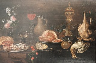 Still life with flowers, ham, game, shellfish and fruit