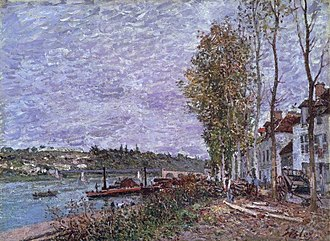 Homme au bain (painting) - Image: Alfred Sisley Overcast Day at Saint Mammès