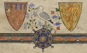 Alphonso, Earl of Chester - Alphonso's and Margaret's coats of arms, from his eponymous psalter