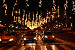 Christmas lights in a street of Madrid (Spain).
