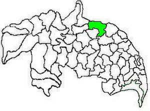 Amaravathi mandal, Andhra Pradesh - Mandal map of Guntur district showing   Amaravathi mandal (in green)