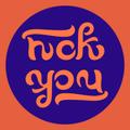 Ambigram Fuck you (orange and blue).png
