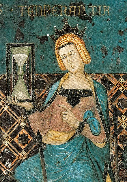 Temperance bearing an hourglass; detail Lorenzetti's Allegory of Good Government, 1338 Ambrogio Lorenzetti 002-detail-Temperance.jpg