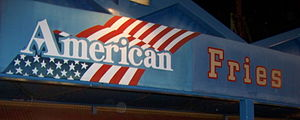 """Freedom fries - A snack bar sign advertising """"American"""" fries at Knott's Berry Farm, the sign previously read """"French""""."""