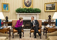 photograph of Merkel and Obama