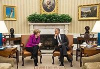 valokuva Merkelistä ja Obamasta