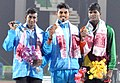 Ankit Sarma (INDIA) won Gold Medal, K. Prem Kumar (INDIA) won Silver Medal and Liyana Pathiranage (SRI LANKA) won Bronze Medal in Long Jump, at the 12th South Asian Games-2016, in Guwahati on February 10, 2016.jpg
