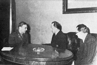 Slovak Republic (1939–1945) - Slovak Ambassador to Croatia, Karel Murgaš (in the middle) with Croatian Poglavnik Ante Pavelić and Foreign Minister Mladen Lorković