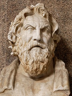Portrait bust of Antisthenes، found at the Villa of Cassius at تیوولی، اٹلی، 1774 (Museo Pio-Clementino).