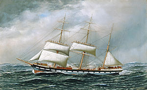 Antonio Jacobsen - The Norwegian bark Superb shortening sail in mid-ocean.jpg