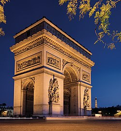 The Arc de Triomphe at night, 2007