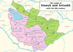Syunik (historic province) - Map of Syunik province