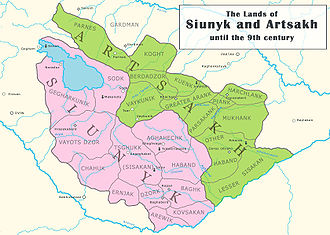 Artsakh (historic province) - The lands of Syunik (left) and Artsakh (right) until the early 9th century