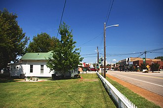 Ardmore, Alabama - View along Ardmore Avenue (SR 53); Town Hall on the left