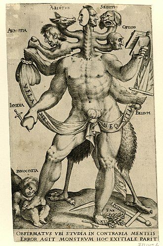 Monster - A polemical allegory presented as a five-headed monster, 1618