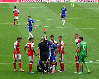 2017 FA Cup Final - Moses receiving a red card in the second half