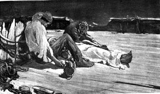 The Narrative of Arthur Gordon Pym of Nantucket - Illustration of the death of Augustus by Albert Sterner, 1895