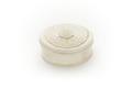 Ask med lock, av elfenben, något oval med blomblad på locket - Skoklosters slott - 92180.tif