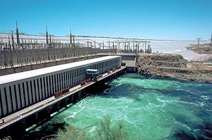 Energy in Egypt - Power plant of the Aswan High Dam, with the dam itself in the background.