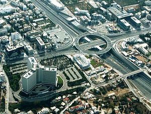 Aerial view of Highways in the Maroussi suburb...