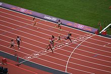 Colour photograph of the finish of the first quarterfinals heat of the women's 100 meter race at the 2012 Summer Olympics