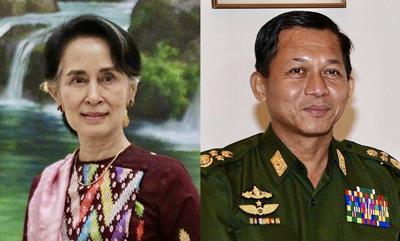 Abgesetzte Staatsrätin Aung San Suu Kyi (links) und General Min Aung Hlaing (rechts)