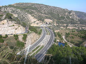 C-32 highway (Spain) - C-32 around Sitges