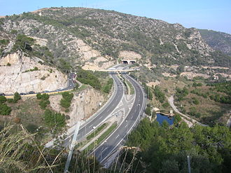 C-32 highway (Spain) - C-32 around Sitges