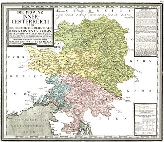 Duchy of Carinthia - Carinthia (yellow) within Inner Austria, c. 1790