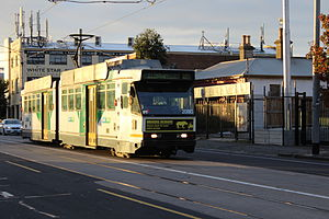 Melbourne tram route 59 - B class tram on Mount Alexander Road in May 2013