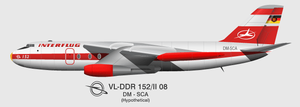Baade 152 - Sketch of the 152 as it would have appeared in service with Interflug