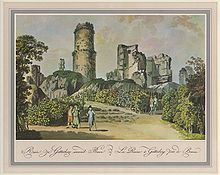 The 18th-century depiction of the Godesburg ruins, as a tourist site, shows crumbled shells of walls, with elegantly dressed men and women walking among them.