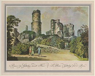 Siege of Godesberg - This 18th-century depiction shows the effects the explosion had on the thick stone walls