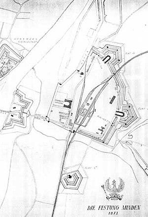 Minden station - Original fortifications around station