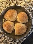 baked dumplings in their baking dish.